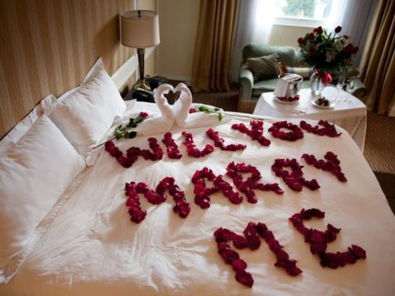 petalas na cama casamento