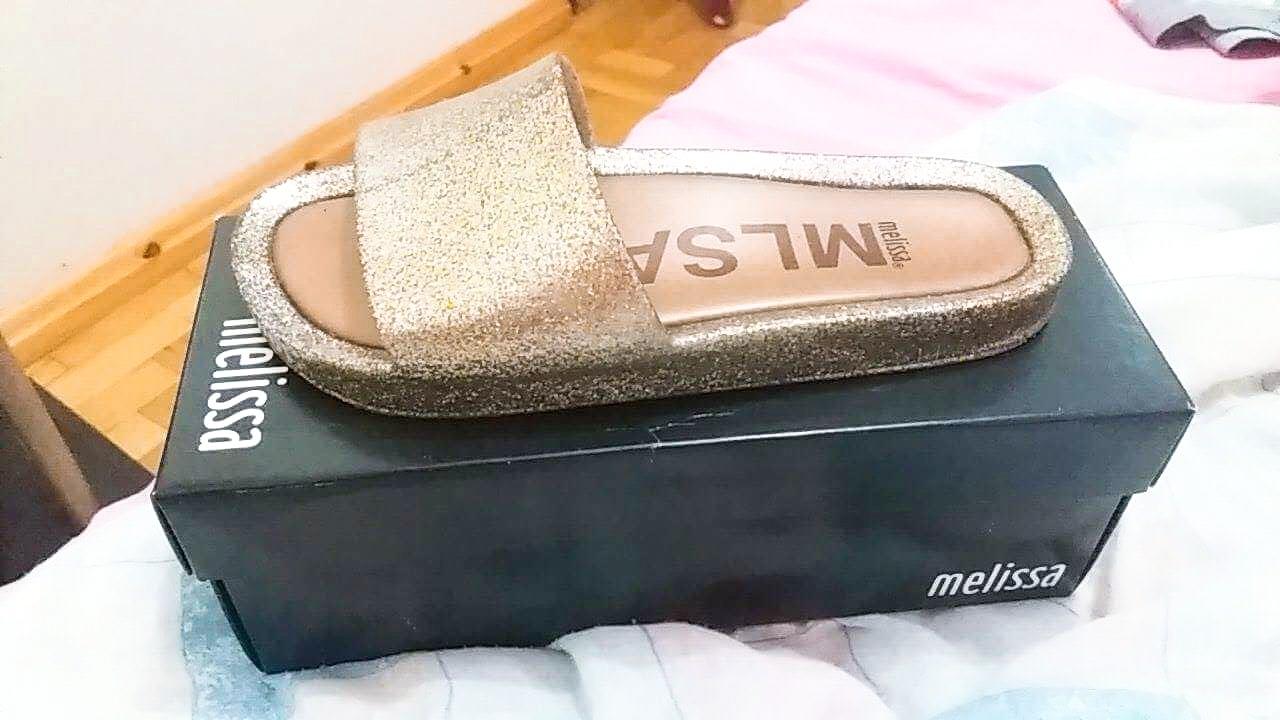 melissa beach slide glitter caixa